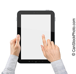 Holding and Point On Digital Tablet - Hands of a businessman...