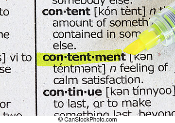 Contentment - Yellow highlight Stress word on article...