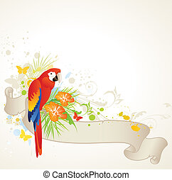 summer banner with parrot