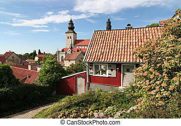 A small cottage in the medieval town of Visby.