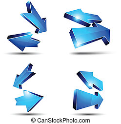 3d return arrows. - 3D return arrows. Vector illustration.