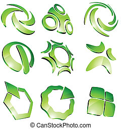 Green vibrant logos. - Set of 3d vibrant signs.