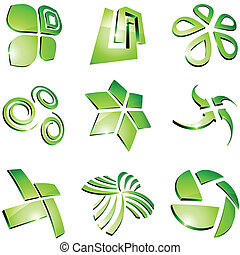 Green vibrant logos - Set of 3d vibrant signs