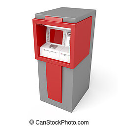 3d illustration of ATM on white background