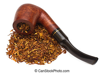 Smoking pipe with tobacco, isolated