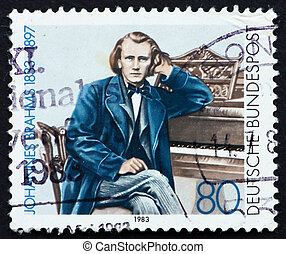 Postage stamp Germany 1983 Johannes Brahms - GERMANY - CIRCA...