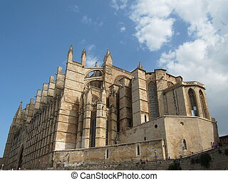 Cathedral of Palma de Mallorca landmark, seen from abroad,...