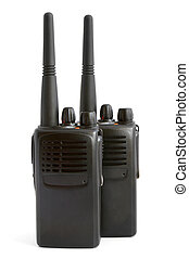 Pair of portable radio sets on a white background