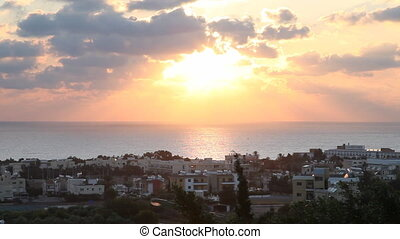 Pafos City Sunset, Cyprus - Pafos City with beautiful pink...