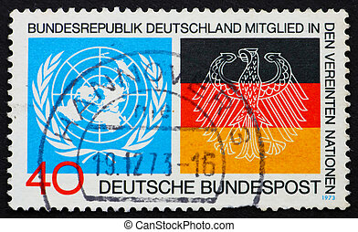 Postage stamp Germany 1973 Emblems from UN and German Flags...