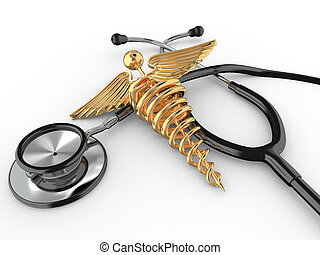 Stethoscope with symbol of medicine, caduceus.