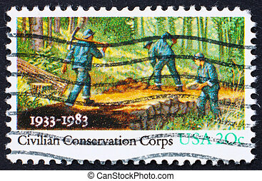 Postage stamp USA 1983 People Working in Forest