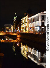 Night view of Griboyedov Canal in St.Petersburg