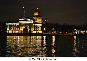 Night view of the St Petersburg, Russia
