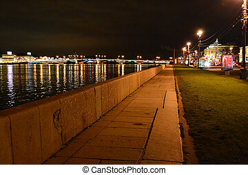 Night view of the University Embankment in StPetersburg,...