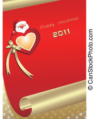Red, Christmas, heart, roll paper,
