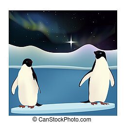 Penguins with Northern lights on background