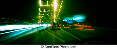Speeding car on highway - Driving car very fast in the night...