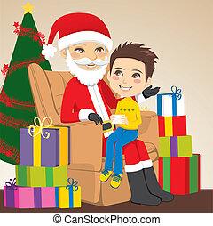 Boy and Santa Claus