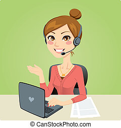 Call Center Woman - Beautiful woman working in a call center...