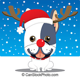 French Bulldog Reindeer - Cute french bulldog with Rudolph...