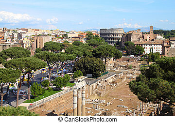 Rome, Italy - skyline with Colosseum and Roman Forum