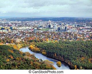 cidade, aéreo,  Vilnius, vista