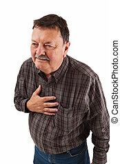 Man in his sixties having chest pain - Photo of a man in his...