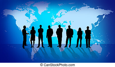 Business people silhouette over world map illustration