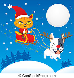 Santa Cat Sleigh - Santa Claus cat riding his magical flying...