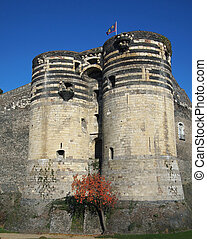 Angers castle, France - Two towers of the angevine castle.