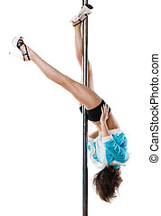 sexy woman in christmas dress exercise pole dance - Young...