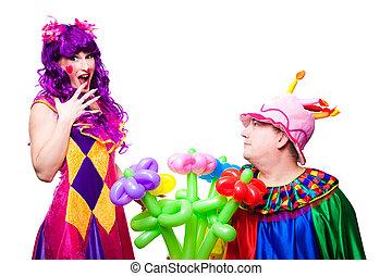 flores, palhaços, coloridos, amando