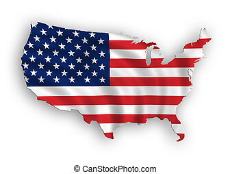 American map flag waving - American map flag waving...