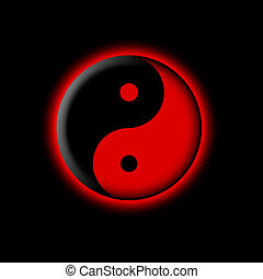 Yin yang illustration over black background