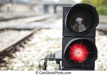 Traffic light shows red signal on railway Red light