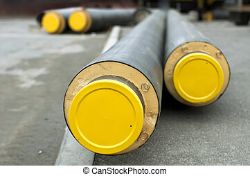 Pipes for hot water and steam heating. City heat pipeline