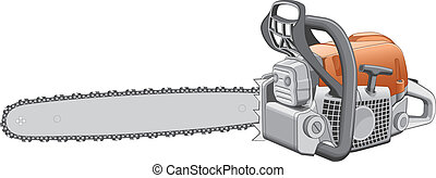 Chainsaw - Illustration of a heavy duty chainsaw used to cut...