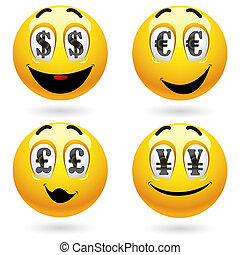Smiley balls looking at money