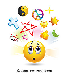 Smiley ball with symbols of  religion