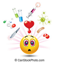 smiley - Smiley ball with different symbols of medicine