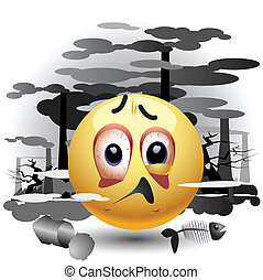 Smiley ball having message about pollution