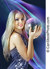 Blond woman with disco ball
