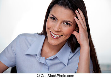 Happy Businesswoman Smiling - Close-up portrait of happy...
