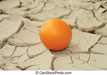 Juicy Orange On Sunbaked Cracked Mud, conceptual of global...