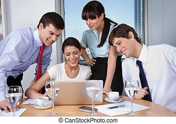 Business Meeting in Office - Business woman with her team...