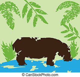 hippo - vector illustration of a grunge hippo