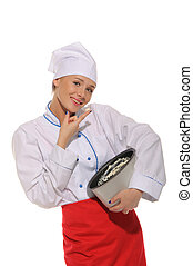 happy woman cook trying to cooked food isolated on white