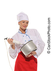 happy woman chef with blender and pot isolated on white