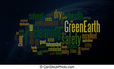 green earth word clouds with nasa image background
